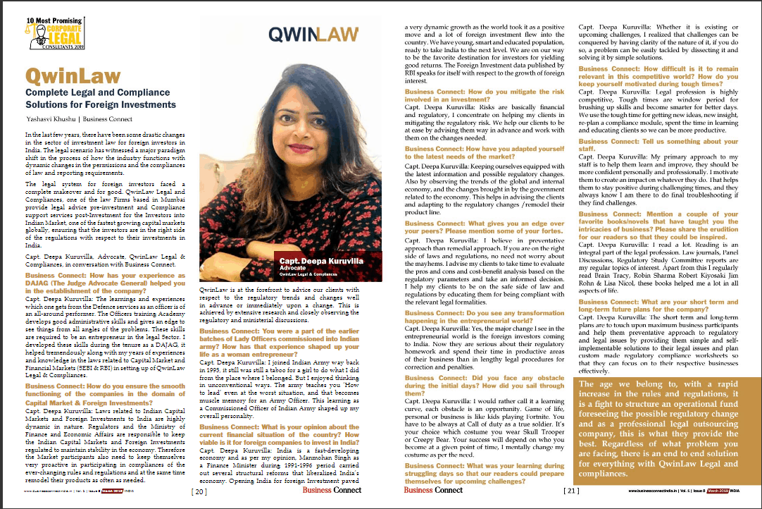 Featured in magazine | qwinlaw helps in legal services for NRI and foreign national in India | legal compliance consultation | Lawyers in regulatory compliance